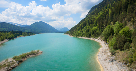 beautiful turquoise artificial lake sylvenstein, spring landscape upper bavaria