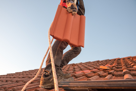 worker carrying roof tile, replacing old moldy shingle with a new one.