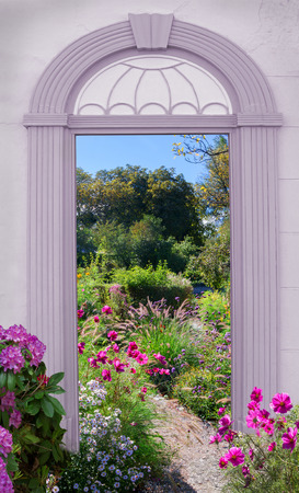 view through arched door, park with summer flowers - cosmea, grass and aster