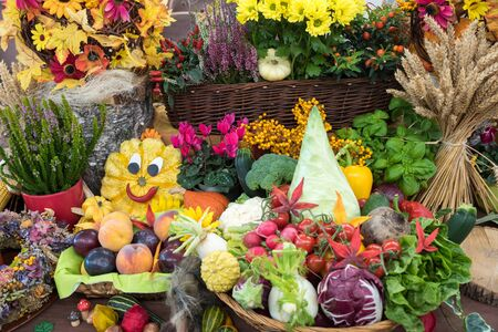 beautiful thanksgiving decoration with funny pumpkin, fruits and vegetables in a basket and heather plants