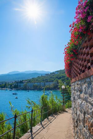 Pictorial seaside walkway from Opatija to Icici tourist town, Kvarner bay, Croatia coast.