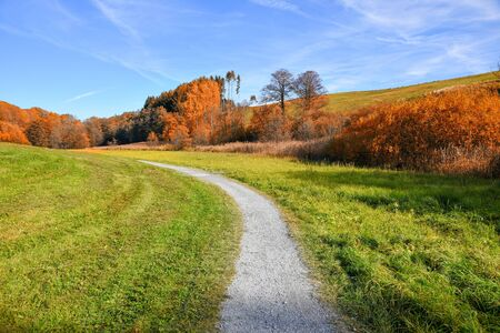 autumnal curvy walkway through hilly rural landscape in autumn, Weiherkette Ebersberg, bavaria 스톡 콘텐츠