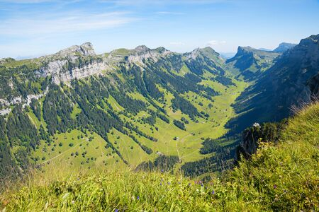 beautiful green Justistal valley, view from the top of Niederhorn mountain, bernese oberland switzerland