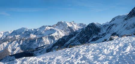 view from Osterfelderkopf summit to Wetterstein and Karwendel alps, bavarian winter landscape