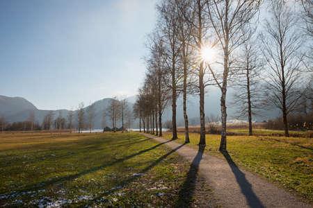walkway from Schlehdorf to lake Kochelsee, upper bavarian landscape Standard-Bild