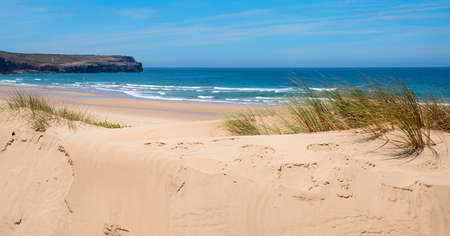 sandy dunes Bordeira beach with sea grass, ocean with waves at the horizon, west algarve portugal.