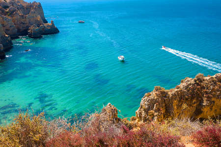 boat trip at blue atlantic ocean, Portugal coast Algarve
