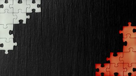 Red and white puzzles in the corners on a black slate stone background. The colors appearing on the flags: Poland, Austria, Bahrain, Denmark, Indonesia, Canada, Japan, Malta, Monaco, Peru, Singapore, Tunisia, Turkey. A frame with an empty space for your description.