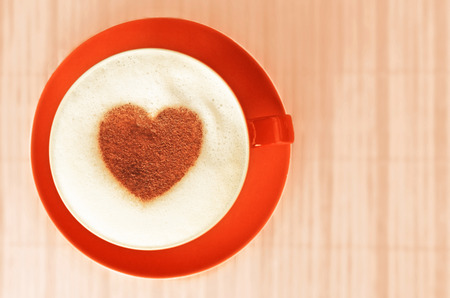 Cappuccino with heart ornament made of cinnamon photo