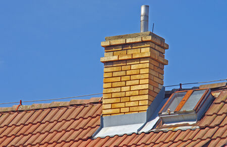 close up chimney: Close up of house roof with chimney Stock Photo