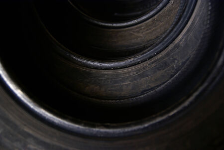 pneu: Detail of tires in a row Stock Photo