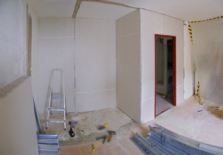 Construction of new walls made of plasterboard in the apartment Stock fotó