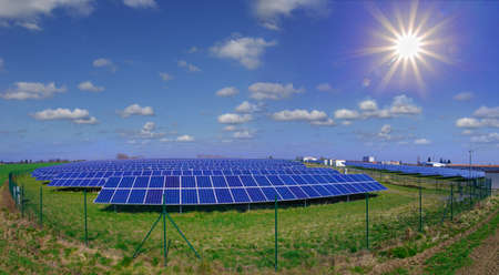 View of photovoltaic power plant and blue sky photo