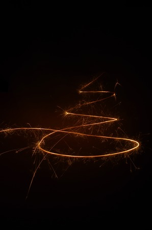Abstract Christmas tree made of sparkler