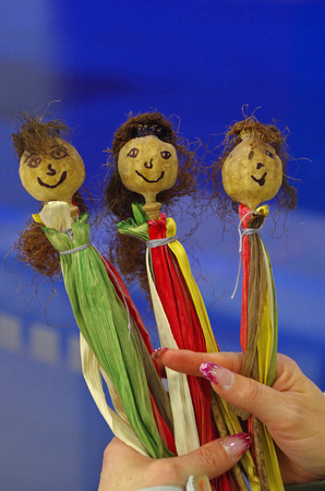 natural materials: Close up of poppy dolls made of natural materials