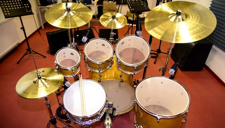 Close up of drums in professional recording studio Stock fotó