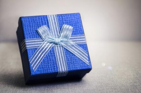 blue box: Close up of blue gift box