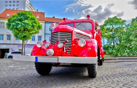 engine fire: Front view of retro fire truck Stock Photo