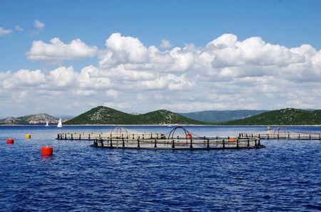 salmon fishery: View of fish farm in the sea. Stock Photo