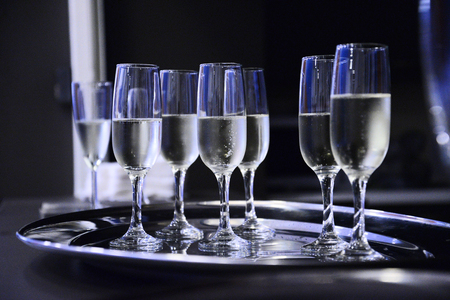 Close up of glasses with prosecco. Catering theme.  Stock fotó