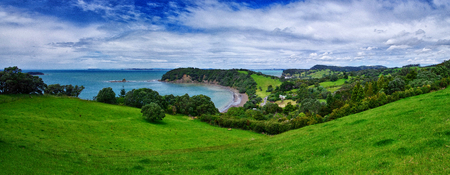 Panoramatic view of amazing nature in New Zealand. Green meadow, cliff and beach.