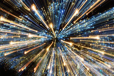 Ansicht von Lichtern der Lichter nachts . Abstraktes Weihnachtsthema Standard-Bild - 91673071