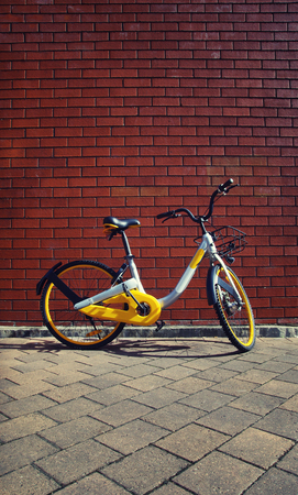 A new modern bicycle for hire in the city. Healthy living in the city. Cycling in the streets. Stock fotó