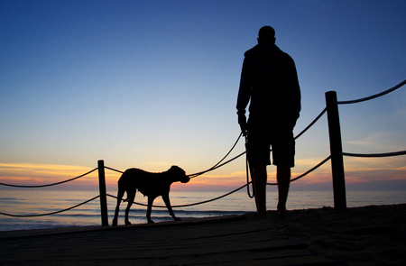 Man walking the dog. Silhouette of standing man and his dog.
