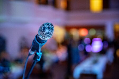 Music event. Microphone close up on stage. Sound mic. Live concert. Imagens