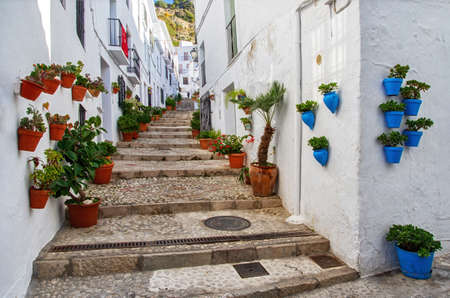 Traditional flowerpots in the street of white village in Andalusia. Pueblos blancos in Spain. Beautiful touristic landmark.
