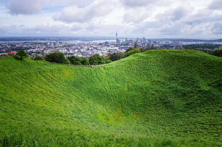 Crater hill on the top of Mount Eden. Auckland view in New Zealand.