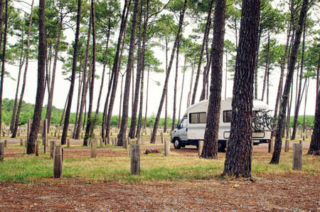 Campervan. Travelling with van and bicycles. Motor home. Van life concept. Travel in Europe.