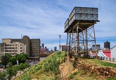 Water tower in and old prison fort. Constitutional Hill, Johannesburg, South Africa Standard-Bild