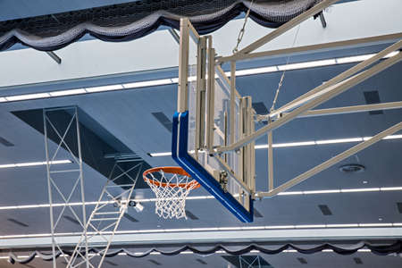 Close up view of basketball hoop. Play basketball indoor. Modern gym. Standard-Bild