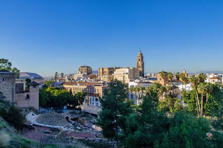Panorama of Malaga, Spain. Ancient Roman amphitheatre and Cathedral of Malaga in the background. Standard-Bild