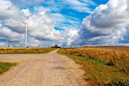 Wind Turbines on a farm