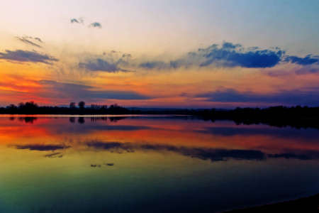 horizon reflection: Sunset over the lake, colorful sky