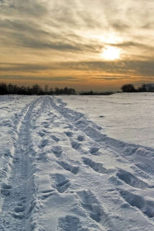 Sunset over the snow-covered road