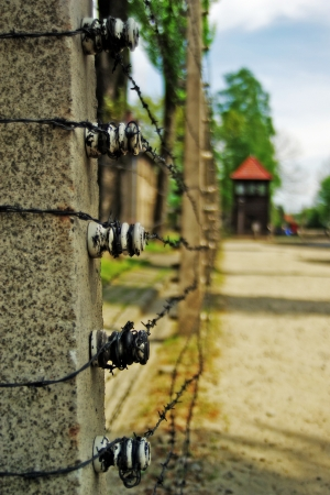 Electric fence in German death camp Auschwitz-Birkenau, Poland photo