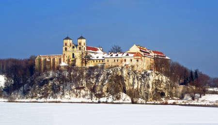 Benedictine Abbey by the Vistula river in Tyniec, near Krakow - winter view Stock Photo