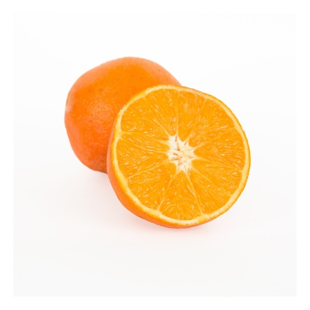 Ripe orange and its half  Isolated on a white