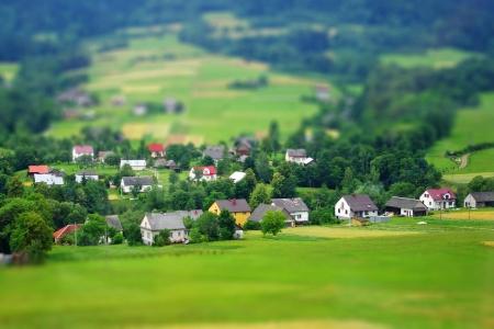 Rural landscape  Miniature  tilt-shift  simulation