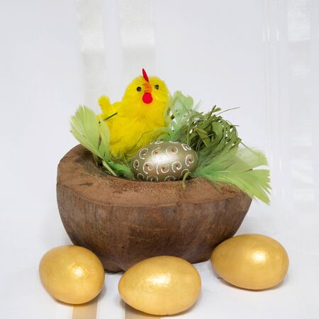 Easter decoration  Chicken in coconut shell and golden eggs