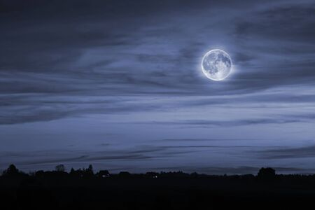 Night landscape with the full moon Stock Photo