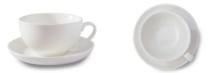 Cup of coffee or tea on white background