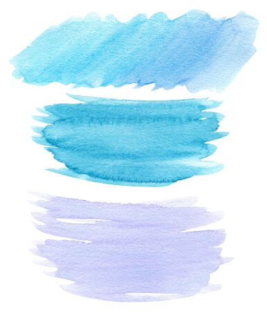Hand drawn watercolor blue turquoise lilac abstract splash on textured paper. Objects isolated on white background. Can be used for web design. Stock fotó - 129752840