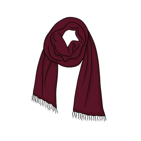 Knitted woolen scarf for cold weather. Fashion clothes accessories for autumn and winter season.Objects isolated on white background. Фото со стока