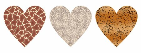 Set of hearts with abstract animal giraffe, cheetah and snake print. Love wild life. Hand drawn illustration with objects isolated on white background. Elements for design and World Animal Day decoration. Фото со стока
