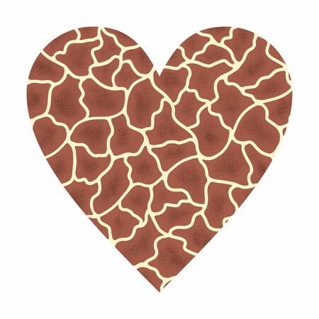 Heart with abstract animal giraffe print. Love wild life hand drawn illustration with object isolated on white background. Cute template for design and World Animal Day decoration.