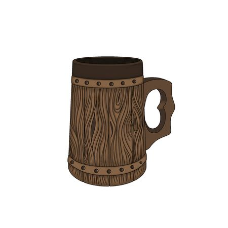 Vintage wooden beer mug. Medieval tankard. Hand drawn illustration with single object isolated on white background. Beautiful element for Oktoberfest decoration.